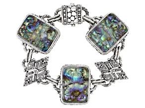 Multicolor Abalone Doublet Silver Bracelet