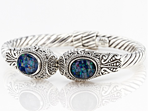 Multicolor Crushed Opal Doublet Sterling Silver Bracelet