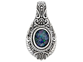 Multicolor Crushed Opal Doublet Sterling Silver Pendant