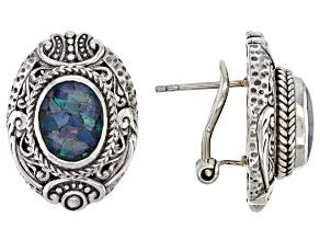 Multicolor Crushed Opal Doublet Sterling Silver Earrings