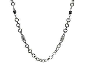 Black Spinel Silver Link Necklace 4.44ctw