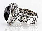 Black Spinel Silver Solitaire Ring 6.00ctw