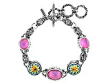 Rose Pink Mother Of Pearl Doublet Silver Bracelet 5.76ctw