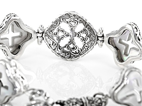 White Mother Of Pearl Cross Silver Bracelet
