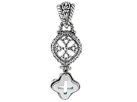 White Mother Of Pearl Cross Silver Pendant