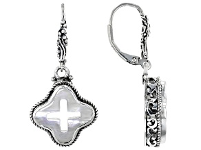 White Mother Of Pearl Cross Silver Earrings