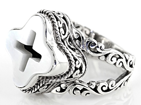 White Mother Of Pearl Cross Silver Ring