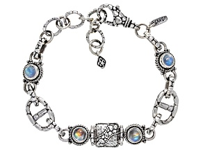 White Rainbow Moonstone Cabochon Sterling Silver Bracelet