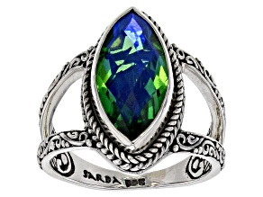 Rainbow Green Quartz Triplet Silver Ring