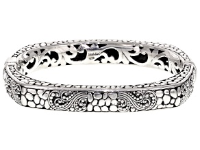 Sterling Silver Filigree Hinged Bangle Bracelet.