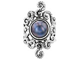 Blue Mabe Pearl Silver Ring
