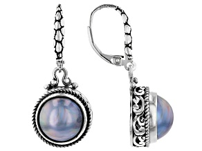 Blue Mabe Pearl Silver Earrings