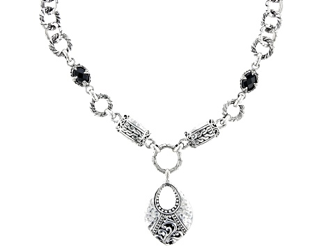 Black Spinel Silver Station Necklace 2.22ctw