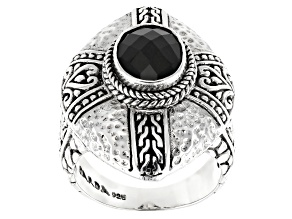Black Spinel Silver Solitaire Ring 2.80ctw