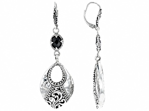 Black Spinel Silver Earrings 2.22ctw