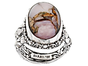 Pink Opal Mosaic Cabochon Silver Solitaire Ring