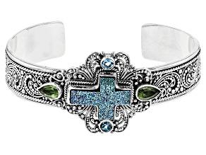 Soaring Skies™ Drusy Quartz Cross Silver Cuff Bracelet 2.66ctw