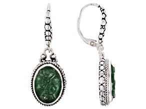 Green Kiwi Quartz Silver Earrings