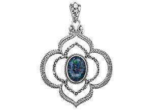 Multicolor Opal Doublet Silver Pendant