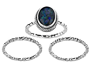Multicolor Opal Doublet Silver Ring Set