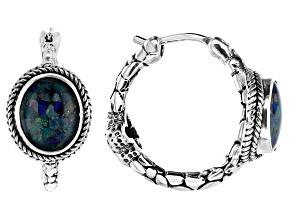Multicolor Opal Doublet Silver Earrings