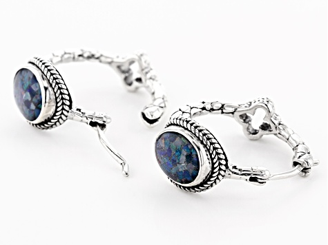 Multicolor Opal Doublet Silver Earrings