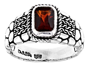 Red Madeira Citrine Silver Ring 0.72ctw