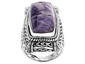 Purple Tiffany Stone Silver Ring