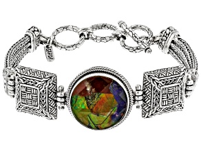 Multicolor Ammolite Silver Bracelet