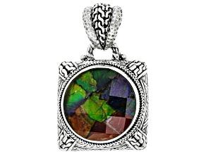 Multicolor Ammolite Silver Pendant