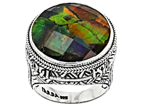 Multicolor Ammolite Silver Ring