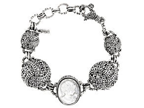 White Mother Of Pearl Silver Cameo Bracelet