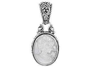 White Mother Of Pearl Cameo Silver Pendant