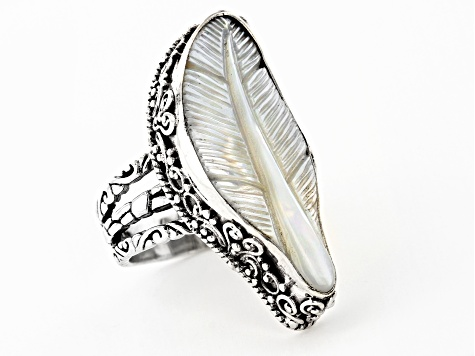 White Mother Of Pearl Silver Feather Ring