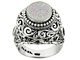 White Snow Drusy Quartz Sterling Silver Ring .40ctw