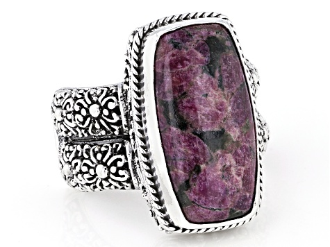 Eudialyte Silver Solitaire Ring
