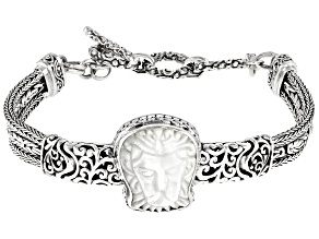 White Mother Of Pearl Lion Silver Bracelet