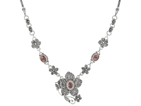 Strawberry Quartz Silver Flower And Butterfly Necklace 6.33ctw