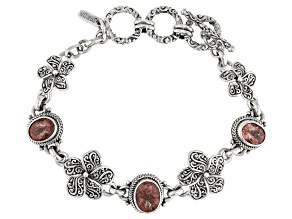 Cherry Quartz Silver Flower And Butterfly Bracelet 5.07ctw