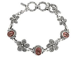 Cherry Quartz Silver Flower And Butterfly Bracelet 5.07ctw