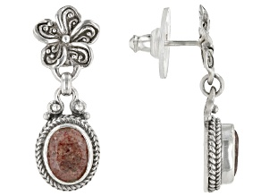 Artisan Collection Of Bali™ 2.96ctw 9x7mm Oval Strawberry Quartz Silver Floral Dangle Earrings