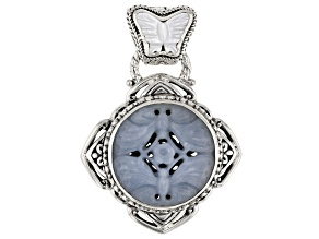 Angelite Silver Butterfly Pendant