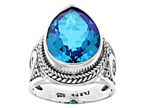 Blue Caribbean Quartz Triplet Sterling Silver Ring