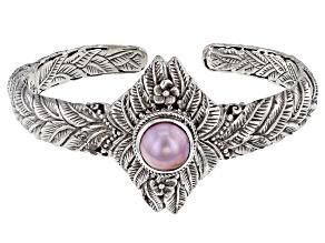 Pink Cultured Mabe Pearl Silver Leaf Cuff Bracelet