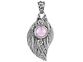 Pink Cultured Mabe Pearl Silver Leaf Pendant