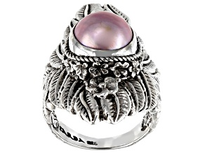 Pink Cultured Mabe Pearl Silver Leaf Solitaire Ring