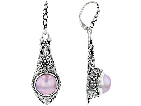 Pink Cultured Mabe Pearl Silver Floral Dangle Earrings