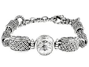 White Quartz Silver Basket Weave Design Bracelet 5.27ctw