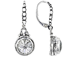 White Quartz Sterling Silver Dangle Earrings 4.60ctw