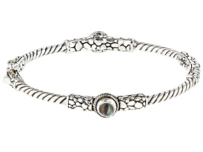 Rainbow Moonstone Cabochon Silver Bangle Bracelet